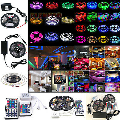 5M 10M SMD 3528 5050 5630 300LEDs RGB White LED Strip Light 12V Power Supply US - Halloween Wedding Supplies