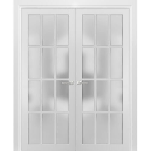 """72"""" x 80"""" Solid French Double Doors Frosted Glass   Felicia 3312 Matte White"""