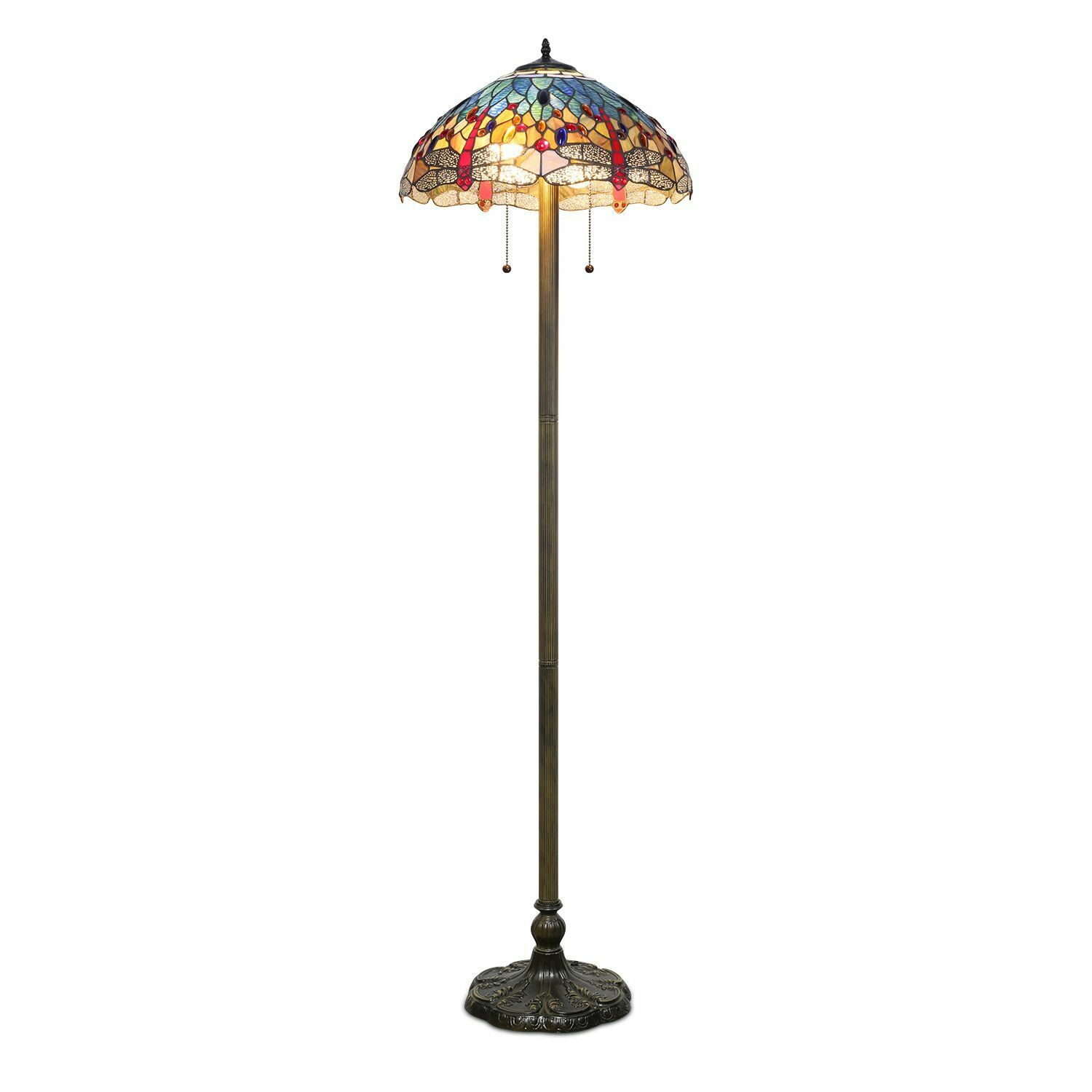 """Tiffany Style Handcrafted Blue Dragonfly Floor Lamp 18"""" Shad"""