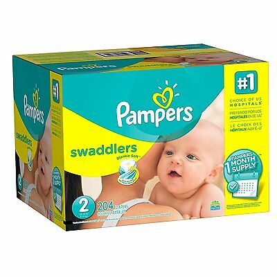 ***NEW*** Pampers Swaddlers Diapers Size 2, 204 Count ***FREE SHIPPING***
