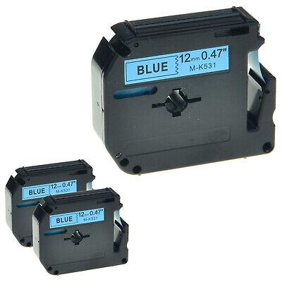 3 Pk Mk531 M-k531 Label Tape Black Print On Blue For Brother P-touch Pt-85 Pt-90