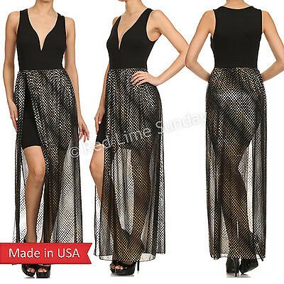 Women Duo Fabric Gold Metallic Foil Mesh Sweetheart Neck Maxi Dress w/ Slit USA Foil Mesh Dress