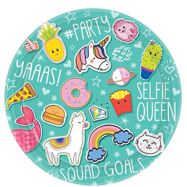 Details About Girls Teens Birthday Party Tableware Plates Selfie Emoji Unicorn Mermaid Squad