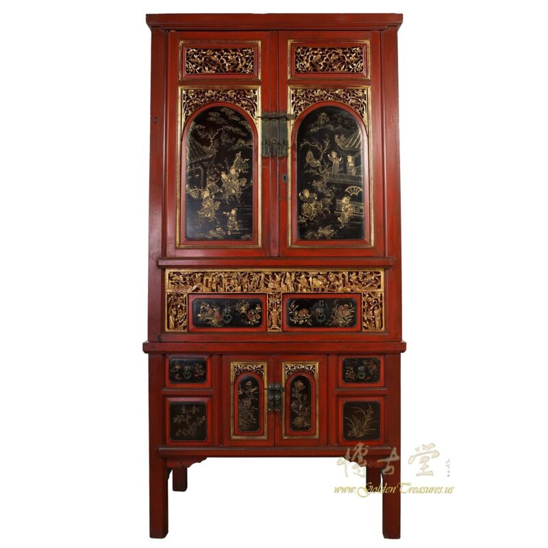 Antique Chinese Carved Gilt Red Wedding Armoire/Wardrobe