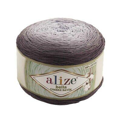 Grey Gradient Bella Ombre Batik 100% Cotton Alize Yarn Cake 250g 900m...
