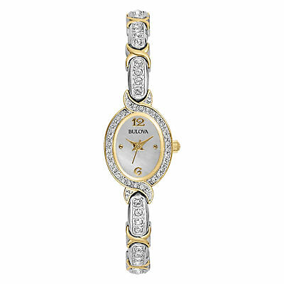 Bulova 98L005 Women's Silver and Gold-Tone Stainless Crystal Accents 22mm Watch