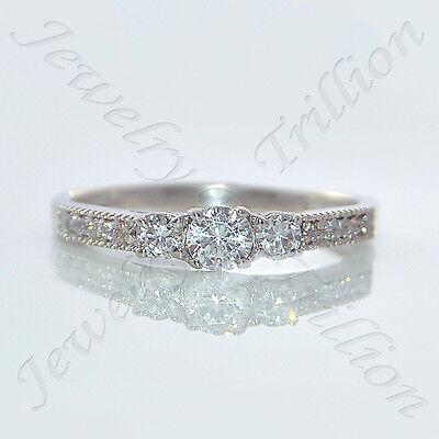 14K Solid White Gold Finish 3-Stone Round Cut Diamond Engagement Ring