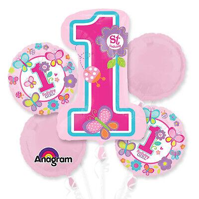 Folienballon Bouquet 1. Geburtstag Mädchen Rosa 5 Folienballons Kindergeburtstag