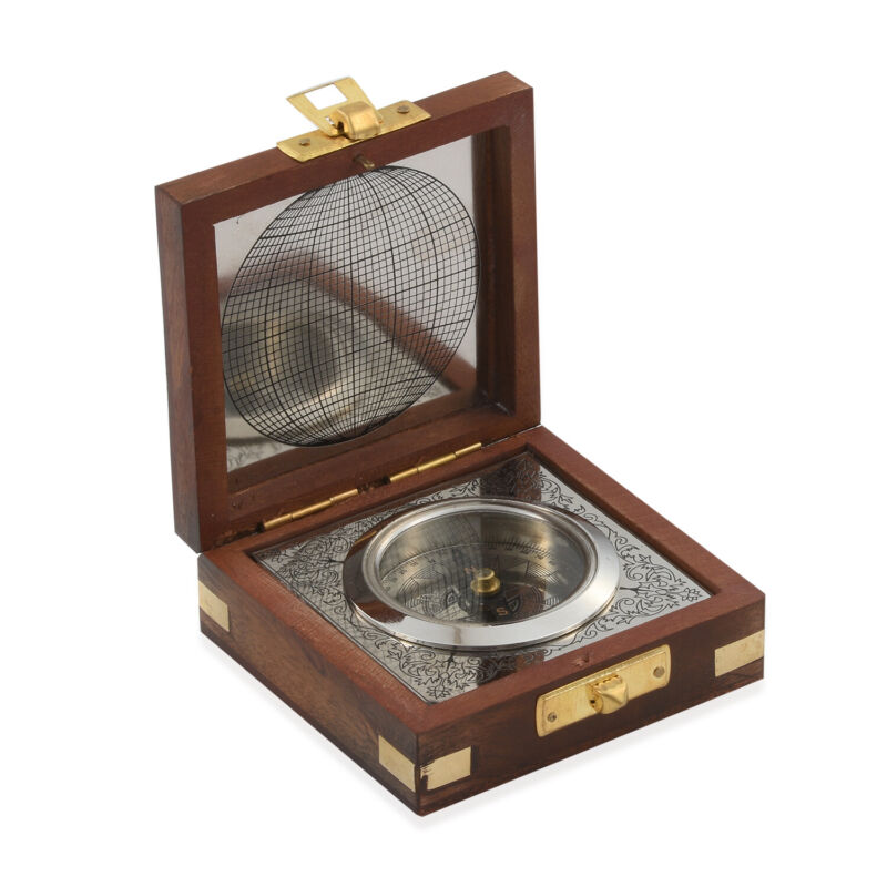 Handcrafted Wooden Box With Built in Silvertone Compass