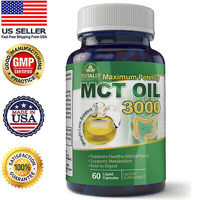 Maximum Potency 100% Pure MCT Oil Capsules - 3000 mg - Cold