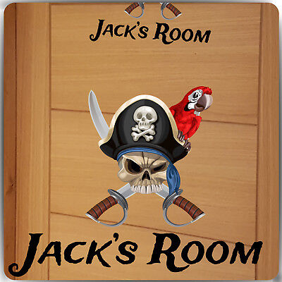 Personalised Disney Pirate Name Door Sticker Wall Decal Girls Bedroom Skull ](Girl Pirate Names)