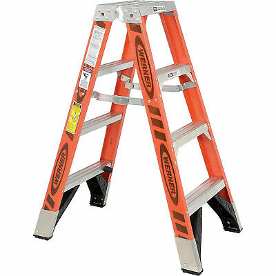 Werner T7404 4 Dual Access Fiberglass Step Ladder 375 Lb. Cap