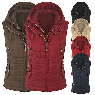 Women's Basic Quilted Fully Lined Lightweight Zip Up Hoodie Vest S,M,L,XL ()