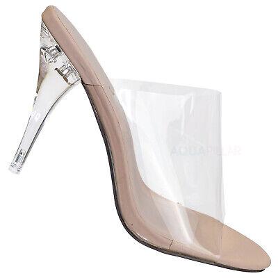 May Clear High Heel Mules - PVC Acrylic See Through Slide All Season Sandal - High Heel Mules