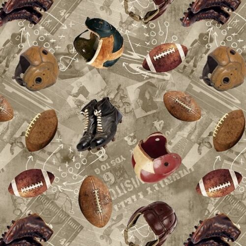 Vintage Football Equipment Taupe 100% Cotton Fabric by The Yard