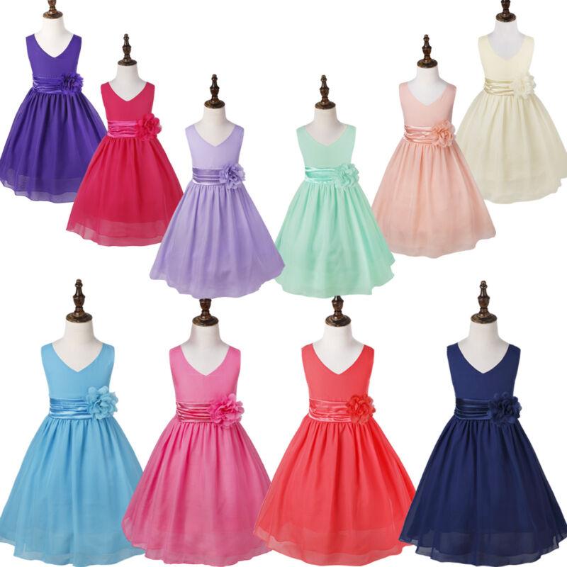 Flower Girl Chiffon Dress Birthday Princess Bridesmaid Wedding Gown Party  DressUSD 8.89 3d085bea1e95