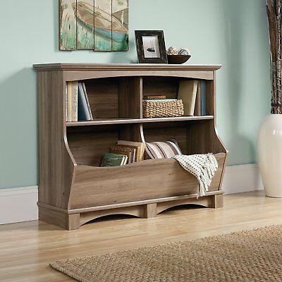 Used, Sauder Harbor View Bin Storage Bookcase Footboard Salt Oak Cabinet Organizer Box for sale  Dinuba