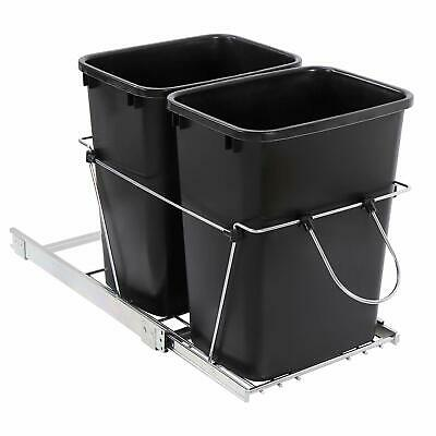 Double 35 Quart Sliding Pull Out Waste Bin Container for Base Kitchen Cabinet