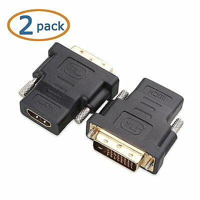 2X DVI-D 24+1 Pin Male to HDMI Female M-F Adapter Converter for HDTV LCD Monitor