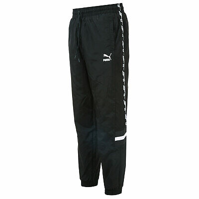 Mens Puma Xtg Woven Pants In Black- Adjustable Drawcord Waist