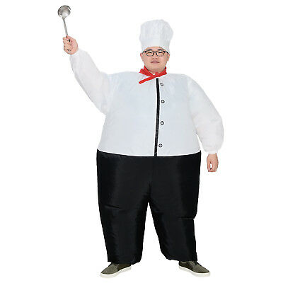 Men Women Inflatable Chef Costume Blowup for Cook Masterchef Adult Cartoon Party