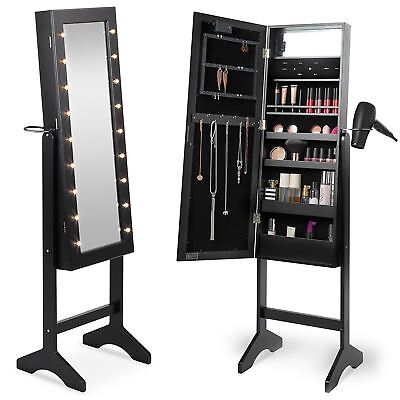 Black Free Standing LED Light Up Mirror and Jewellery Storage Cabinet Organiser