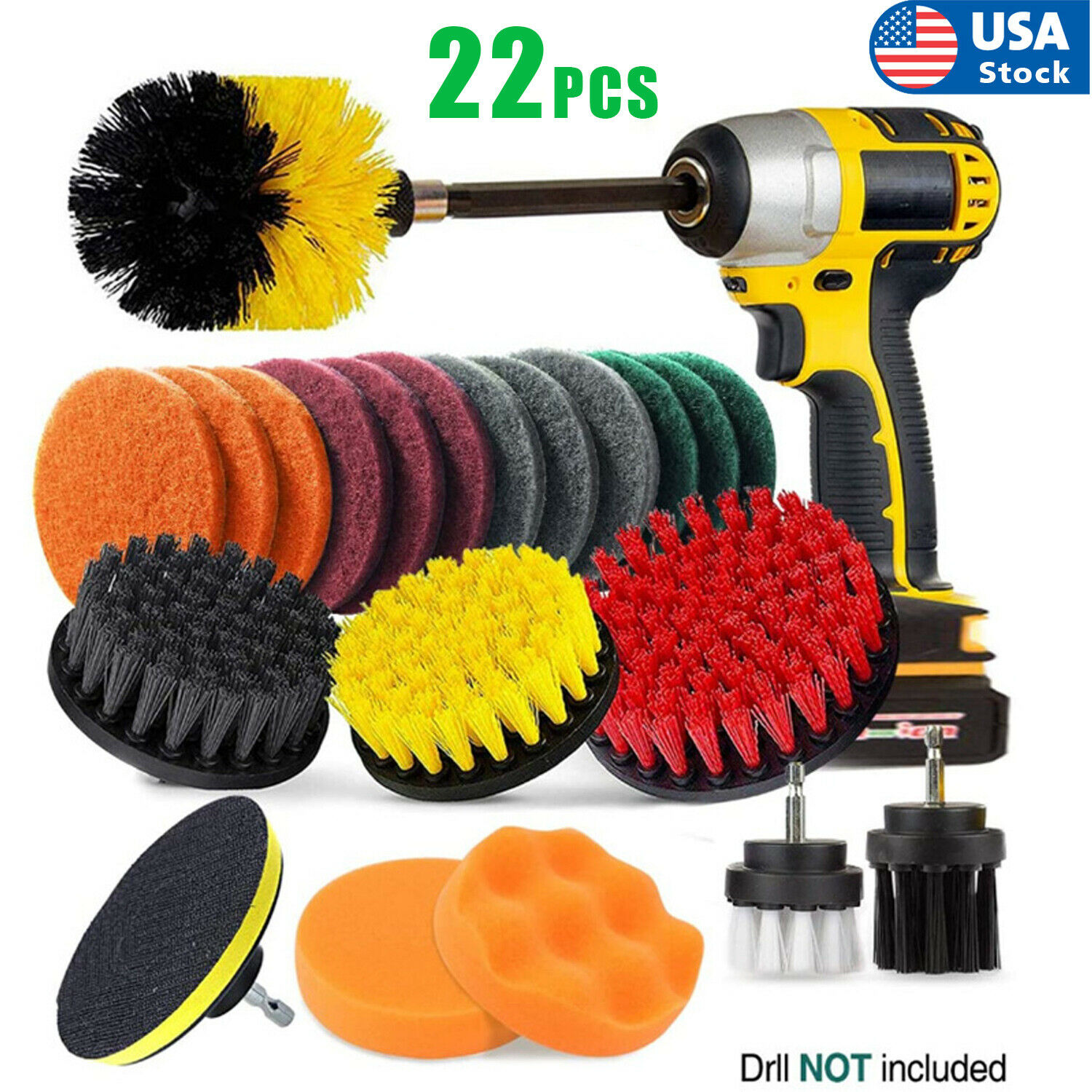 USA 22PCs Electric Drill Brush Set Scrub Pads Power Scrubber Brush Cleaning Kits Cleaning Products
