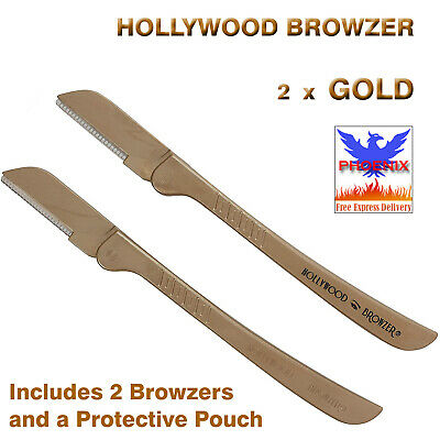 HOLLYWOOD BROWZER 2 x GOLD (Includes 2 Browzers and a Protective Pouch) *NEW*