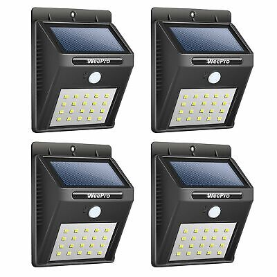 Outdoor 20 LED Solar Wall Lights Power PIR Motion Sensor Garden Yard Path -