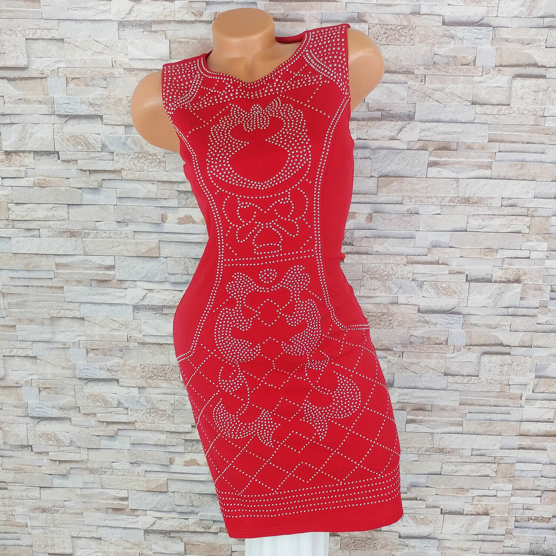 MADE IN ITALY Bodycon Kleid Nieten Etuikleid Cocktailkleid Abendkleid rot 34 36