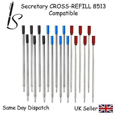 CROSS COMPATIBLE 8513 BALL POINT PEN REFILL INK -BLACK BLUE (3 Red Balls 4 Blue 5 Black)