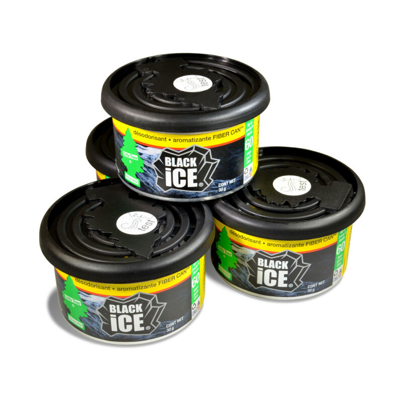Little Trees Fiber Can Car Air Freshener 4-Pack (Black Ice)