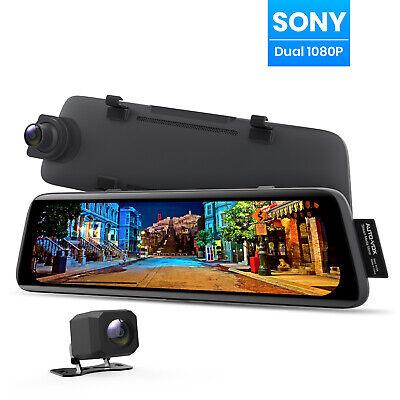 Auto-Vox V5 HD 9.35'' 1080P Dual Lens DVR Mirror Dash Cam Reversing Camera GPS