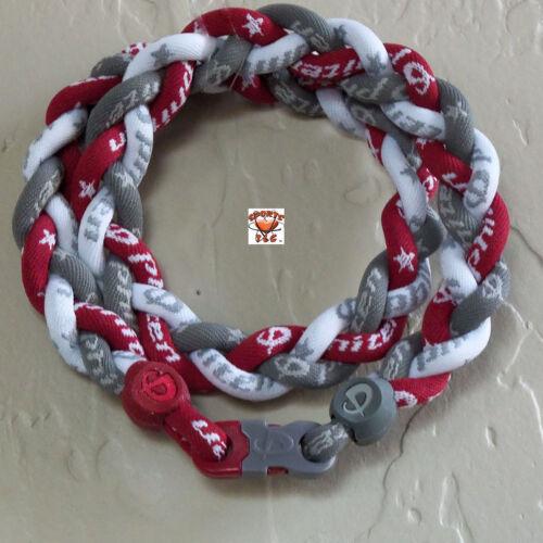 Phiten Triple Braid - Gray/Red/White -Custom New