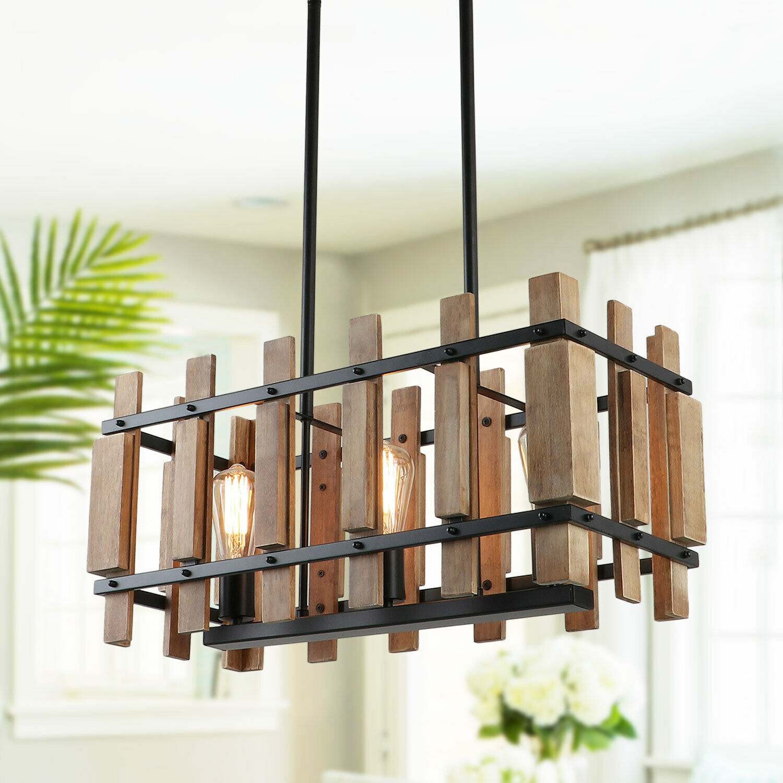 Rustic Wood Chandelier Farmhouse Kitchen Light Fixtures Rectangle Pendant Light Ebay
