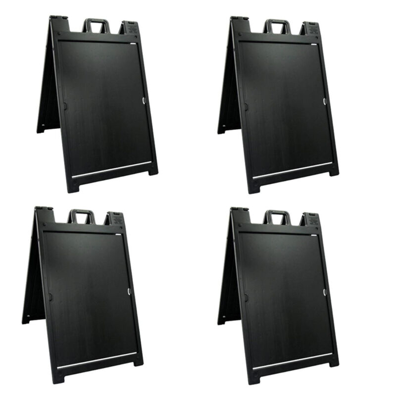 Plasticade Deluxe Signicade Portable Folding Double Sided Sign, Black (4 Pack)