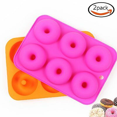 2pcs  6-Cavity Silicone Donut Baking Pan/Non-Stick Donut Mold Microwave