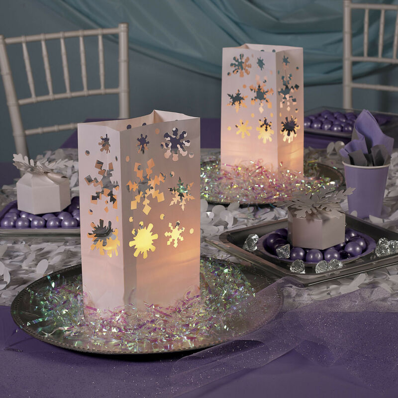 12 Christmas Winter Holiday Party Decorations SNOWFLAKE LUMINARY BAGS Frozen