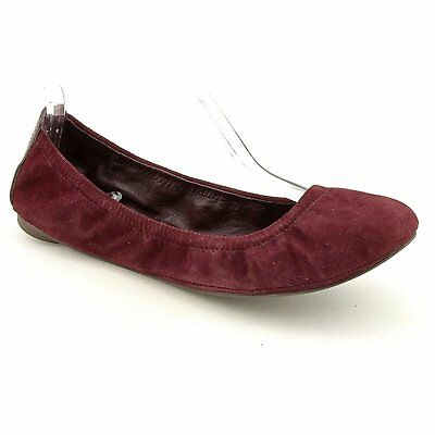 Tory Burch Eddie Kid Suede Ballet Flat Bordeaux Red Size 6.5