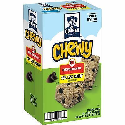 Quaker Chewy Granola Bars, 25% Less Sugar, Chocolate Chip, 58 (25% Less Sugar)