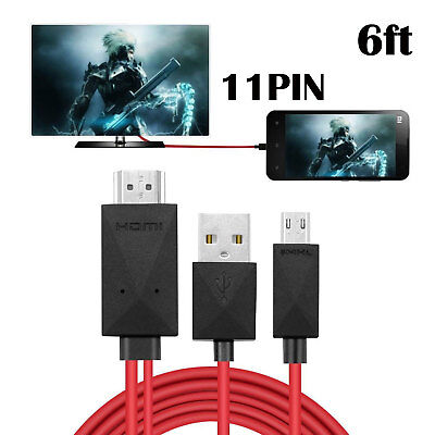 6ft 11Pin Micro USB MHL to HDMI HDTV Cable Cord Adapter for Android Smart Phone