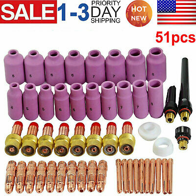 51pcs Tig Gas Lens Collet Body Consumables Kit Fit Wp 171826 Tig Welding Torch
