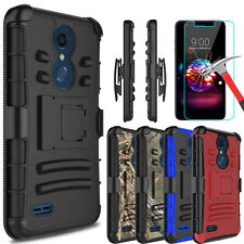 For LG K30 Hybrid With Kickstand Holster Clip Phone Case Cover+Screen Protector
