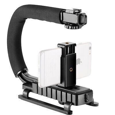 Neewer Stabilizzatore Forma U/C con Clip Hotshoe per Smartphone Reflex Digitali