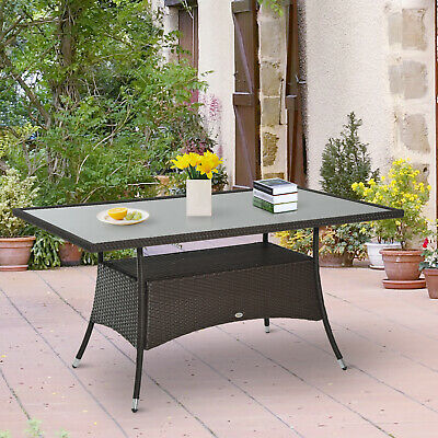 Polyrattan Gartentisch Glastisch Esstisch Gartenmöbel Tisch Metall 150x85x74cm