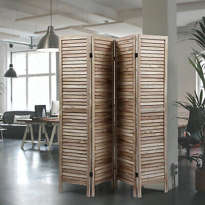 4 Panel Natural Wood Color 5.6 Ft Tall Wood Folding Privacy Screen Room Divider