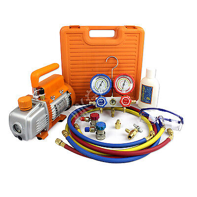 HVAC A/C Refrigerant R134a R22 R410a R407C Manifold Gauge & 3.6CFM Vacuum Pump for sale  USA