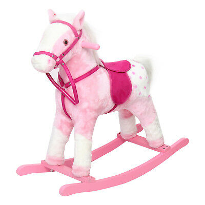 Baby Kids Toy Plush Wooden Rocking Horse Boy Riding Rocker with Sound Pink