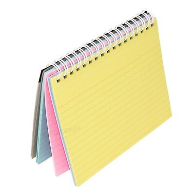Set Of 5 Colour Spiral Bound Index Cards 6x4 Note Taking Pads Record Notepad A6