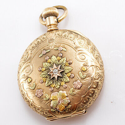 1897 ELGIN WATCH CO. MULTICOLOR 14K GOLD 15 JEWELS POCKET WATCH WITH A DIAMOND
